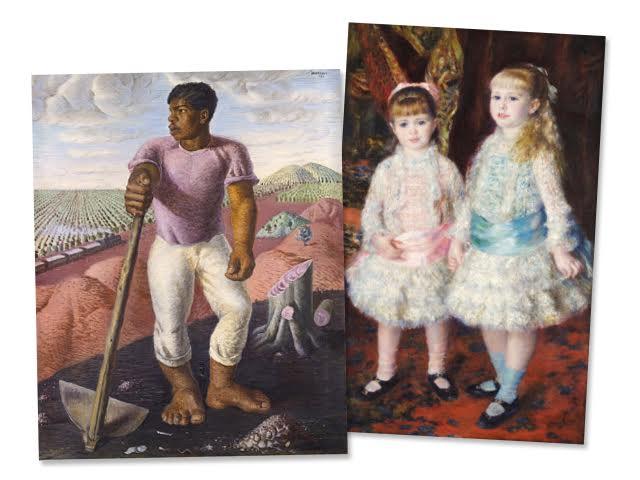 """""""O lavrador de café"""" (1934), de Candido Portinari e """"Rosa e azul - As meninas Cahen d' Anvers"""" (1881), de Pierre-Auguste Renoir    Créditos: Reprodução / Divulgação"""