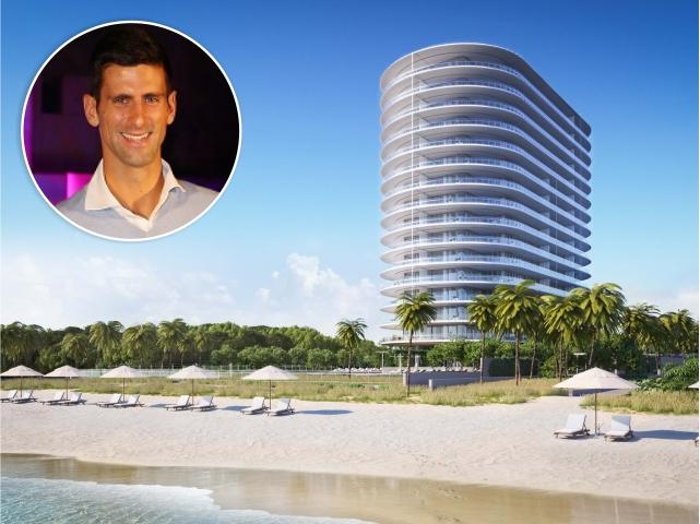 Novak Djokovic e uma imagem do empreendimento em Miami