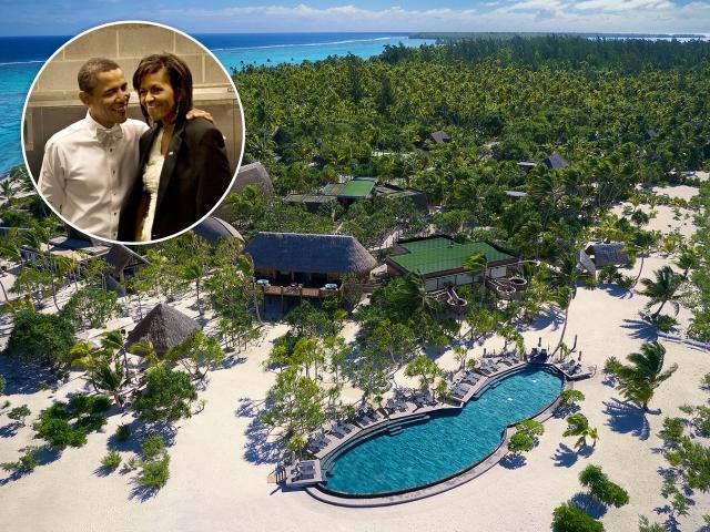 Barack e Michelle Obama e o The Brando, na Polinésia Francesa || Créditos: Getty Images/Divulgação