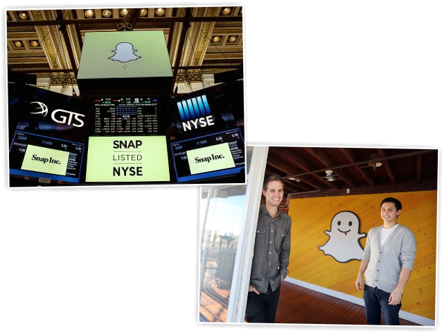 Evan e Bobby, co-fundadores do Snapchat, que estreou na bolsa