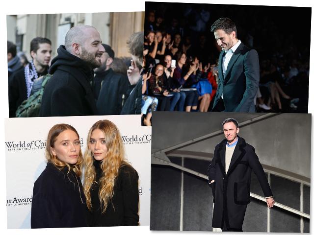 Acima, Demna Gvasalia e Marc Jacobs. Abaixo, Mary-Kate e Ashley Olsen e Raf Simons    Créditos: Getty Images