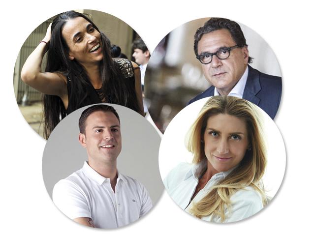 Em sentido horário: Roério Fasano, Alessandra Luglio, Alexandra Forbes e Charles Piriou, palestrantes da 1ª edição do Food Forum || Créditos: Divulgação