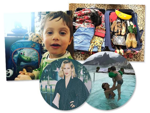 A mala de Charlotte Dellal (abaixo) para temporada no Rio de Janeiro, o pequeno Rio em clique de Alice Dellal e Andrea Dellal curtindo neto na piscina do Hotel Fasano || Créditos: Reprodução Instagram
