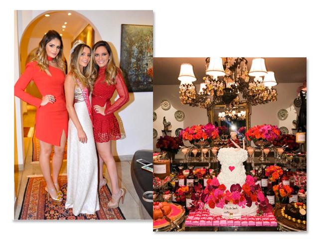 7a240a506 A noiva Sarah Mattar entre as amigas Thássia Naves e Lelê Saddi e a mesa de  doces