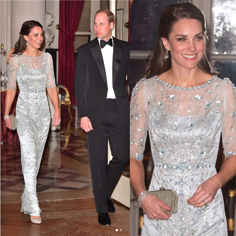 Kate Middleton com vestido Jenny Packham em jantar oferecido pelo presidente da França na embaixada da Inglaterra em Paris|| Créditos: Reprodução Instagram