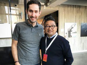 Erh Ray encontra Kevin Systrom, cofundador do Instagram, na Califórnia
