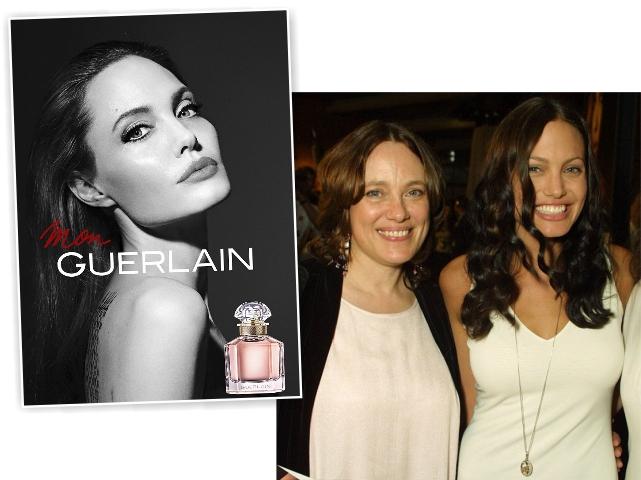 Angelina na nova campanha da Guerlain, e com sua mãe, Marcheline || Créditos: Getty Images/Divulgação