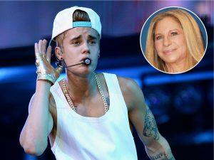 """Passagem """"comportada"""" de Bieber pelo Brasil teve o dedo de Barbra Streisand"""