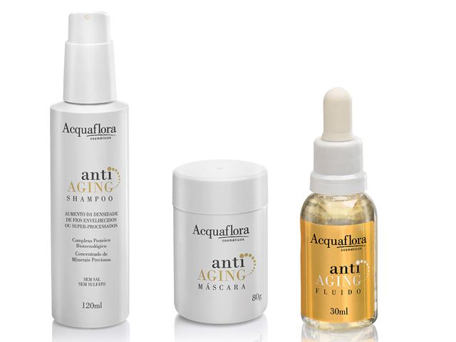 Kit Anti-Aging, Acquaflora – Vitalidade aos cabelos envelhecidos antes mesmo do processo cronológico natural, R$ 69,90