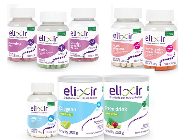 Linha Elixir do Mundo Verde com seis linhas para cuidar da saúde e da beleza das mulheres acima dos 30 anos