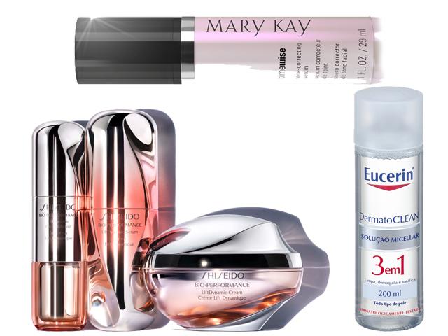 Linha LiftDynamic Shiseido, Demaquilante DermatoCLEAN, sérum corretor Mary Kay || Créditos: Divulgação