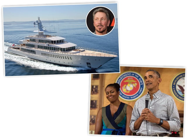 O megaiate de Larry Ellison, e o casal Michelle e Barack Obama