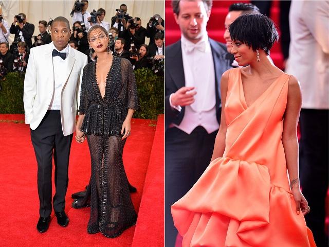 Jay-Z e Beyoncé, e Solange Knowles || Créditos: Getty Images