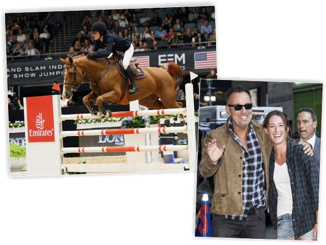 Jessica em competição e com o pai, Bruce Springsteen