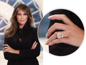 Em primeira foto oficial como primeira-dama, Melania Trump usa anel milionário
