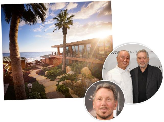 O hotel Nobu de Malibu, os sócios Matsuhisa e De Niro, e Larry Ellison || Créditos: Getty Images/Divulgação