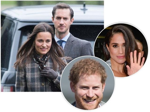 Os noivos Pippa e James, Harry e Meghan Markle || Créditos: Getty Images