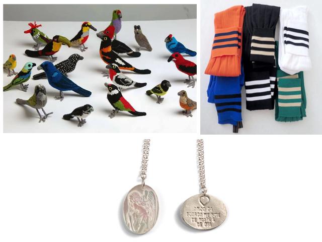 Passarinhos de tapeçaria de Renato Imbroisi, meias da Early Bird Just For Dreamers e escapulário Christina Cunali || Créditos: Divulgação