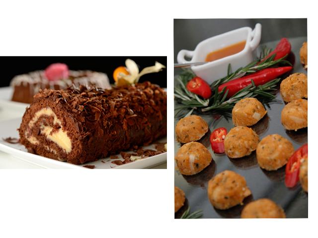 Destaques do menu preparado para Sting e sua produção: rocambole de chocolate e minicuscuz    Créditos: Divulgação