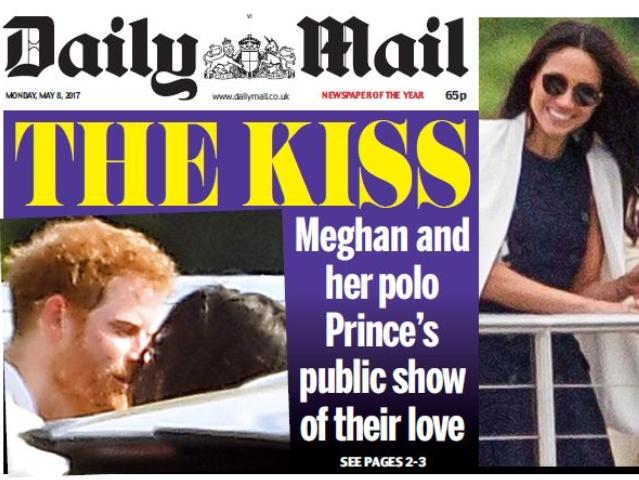 """O selinho de Harry e Meghan, na capa do """"Daily Mail""""    Créditos: Reprodução/Daily Mail"""
