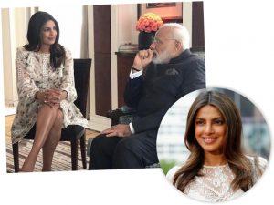 Em encontro com líder indiano, Priyanka Chopra causa com pernas à mostra