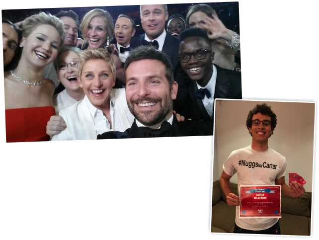 A selfie de Ellen e Carter comemorando seu feito || Twitter/Reprodução