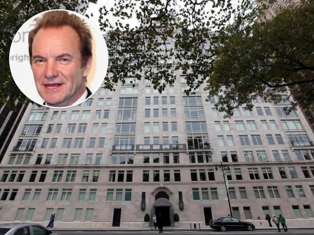 Sting e o prédio onde fica o dupléx || Créditos: Getty Images