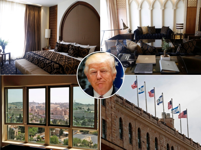 Donald Trump e seu quarto no King David Hotel