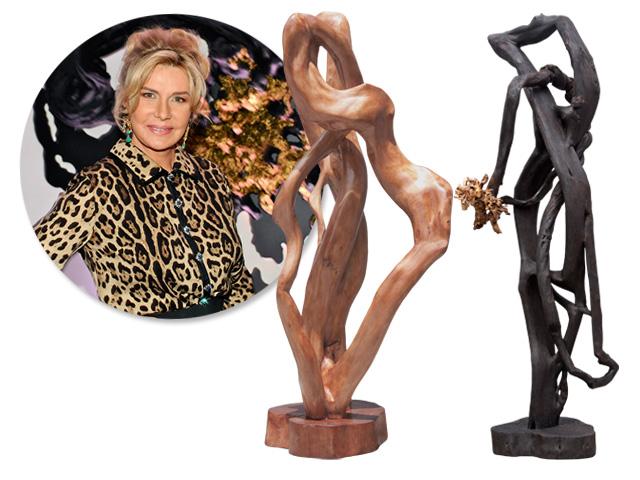 Bia Doria e duas esculturas que estarão expostas na Basílica Papal de São Paulo Fora da Muralha, em Roma    Créditos: Bruna Guerra / Divulgação