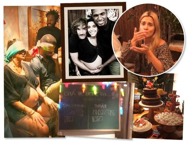 Benedita Casé e João Pedro Januário vendados durante brincadeira, o casal com Felipe Veloso, Carolina Dieckmann aproveitando as comidinhas de festa junina, o quadro com a votação para o nome do bebê e a mesa do bolo || Créditos: Reprodução/ Instagram