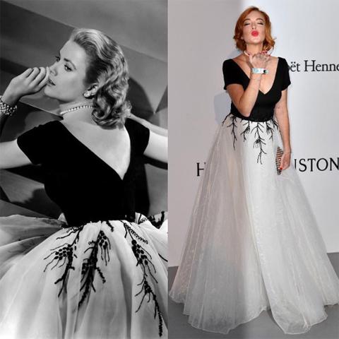 Grace Kellky em 1954 e Lindsay Lohan em 2017 || Créditos: Divulgação