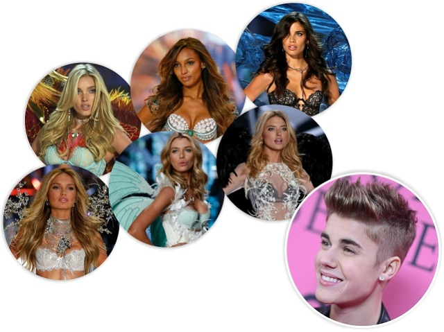 Bieber e as Angels da VS que ele mencionou no Twitter || Créditos: Getty Images