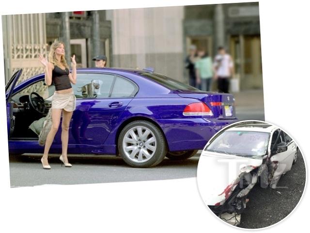 Gisele ao lado da BMW e, no detalhe, o carro depois do acidente || Créditos: Divulgação/TMZ.com