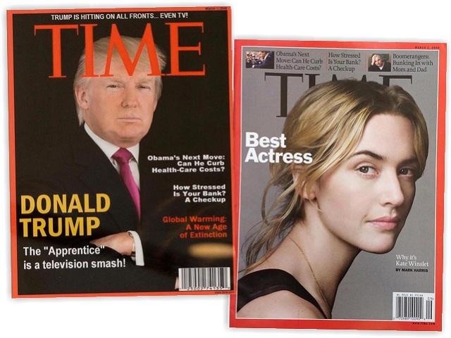 As capas com Trump (falsa) e Kate Winslet (verdadeira)