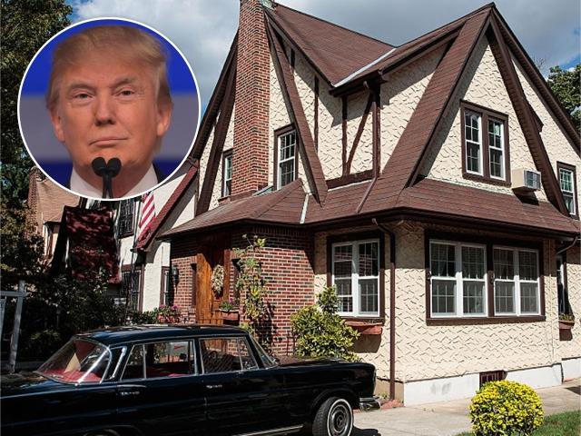 Donald Trump e a casa onde ele cresceu, em NY