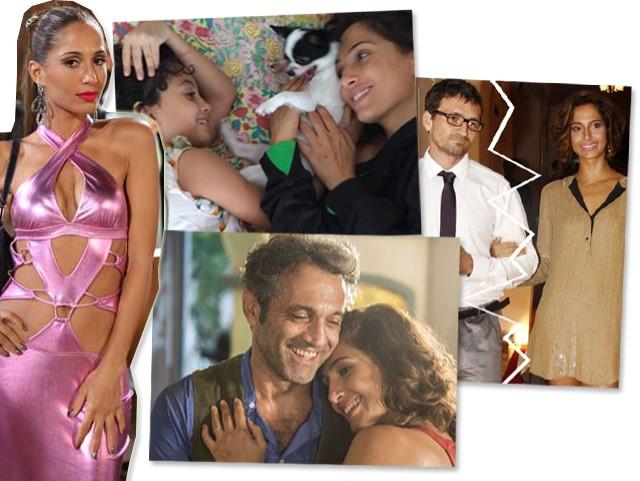 Camila Pitanga como Bebel, com a filha, Antonia, com o ex-marido, Claudio Amaral Peixoto, e com o colega Domingos Montagner || Créditos: Reprodução