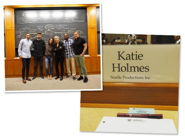 Piqué e Katie sendo tietado por outros alunos do curso, e a mesa da sala de aula de Katie || Créditos: Reprodução Instagram