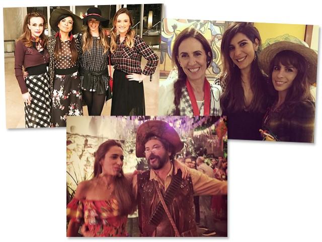 Flavia Monteiro, Ana Lima, Roberta Serrado, mulher de Marcelo Serrado, e Flavia Santoro, Flora Gil com Andreia Sadi e Maria Ribeiro e o casal anfitrião: