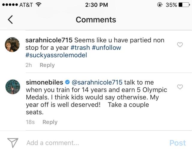 O comentário azedo e a resposta da atleta || Créditos: Reprodução
