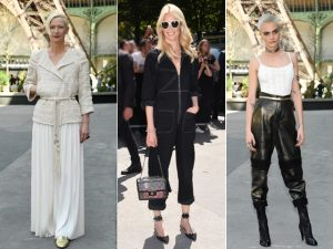 Tilda Swinton, Claudia Schiffer e Cara Delevingne durante a semana de moda de Paris