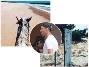 Madonna andando a cavalo e curtindo o dia de verão a beira mar em Comporta