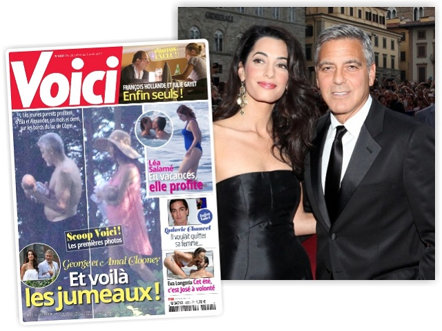 """Amal e George Clooney e a capa da """"Voici"""""""