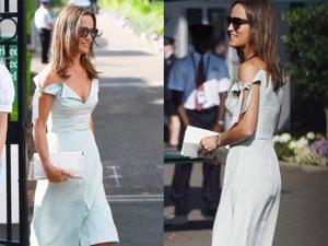 Pippa Middleton baixa em Wimbledon com look que vai hypar jovem estilista