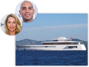 Viúva de Steve Jobs curte férias em megaiate com namorado e filha a tiracolo