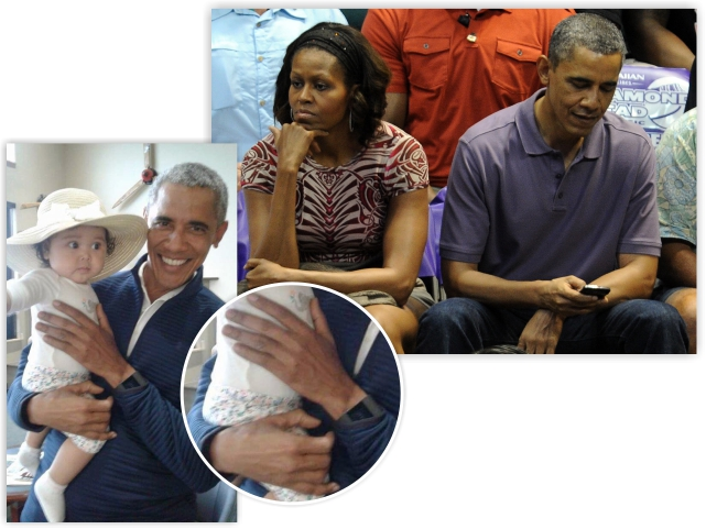 Michelle e Barack juntos, e o ex-presidente sem aliança na foto com a fã (no detalhe)