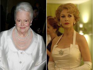 Olivia de Havilland e Catherine Zeta-Jones em cena como a atriz