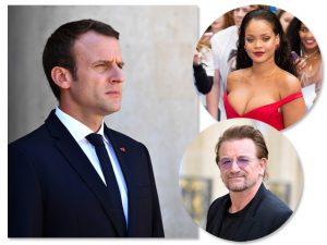 Por popularidade, Emmanuel Macron vai se encontrar com Bono e Rihanna