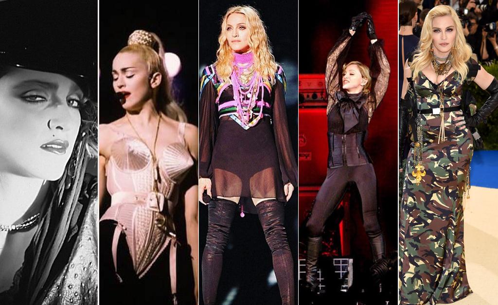 29cb6c784f Da esquerda à direita, linha do tempo do estilo de Madonna dos anos 1980  até hoje || Créditos: Reprodução Instagram e Dimitrios Kambouris/Getty  Images