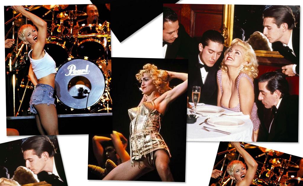 """258ffea3ae Da esquerda à direita: Madonna em 1993, ela em show da """"Blond Ambition  Tour"""", em 1990, com corset criado por Jean Paul Gaultier e em ensaio por  Steven ..."""
