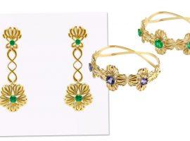 Desejo do Dia: menina de ouro com as joias de esmeralda e tanzanita byKarina Mouadeb